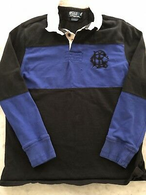 Polo RALPH LAUREN Mens Blue Black RLC Rugby Shirt Custom Fit Size Large