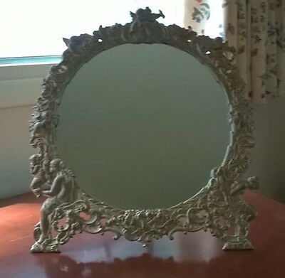 Antique, Cast Iron, Silver, Dressing Table/Vanity Mirror - Ornate Frame