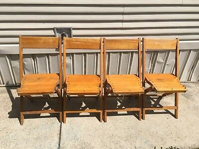 Lot Of 4 Snyder Chairs Wood Vintage Antique Folding Kitchen Old Shabby Chic