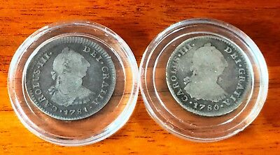 1780/01 1 Real Carolus IIII Centavo Silver Coin Spanish Colony Mexico F Lot of 2