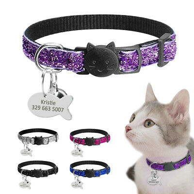 Sequins Breakaway Personalized Dog Collars Kitten Cat ID Dog Tags Quick Release