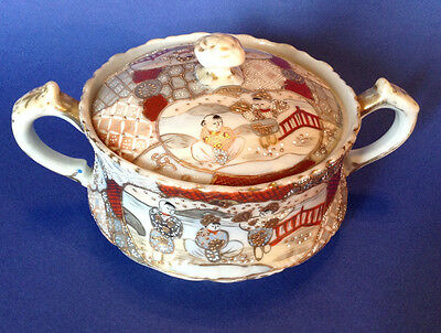 Nippon Satsuma - Handled Biscuit Jar- Hand Painted With Moriage And Gilding