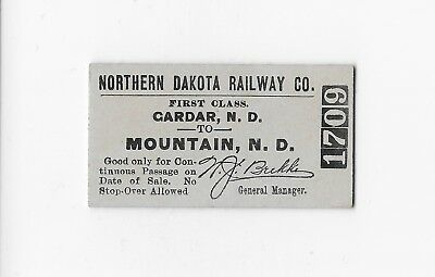 Northern Dakota Railway Co. Gardar And Mountain North Dakota Ticket
