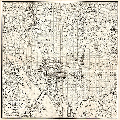 1915 Pictorial Washington DC Map Home School Office Wall Poster Vintage History