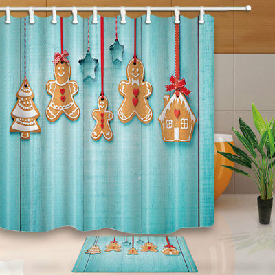 Gingerbread Cookies On Turquoise Wooden Bathroom Fabric Shower Curtain 71Inch