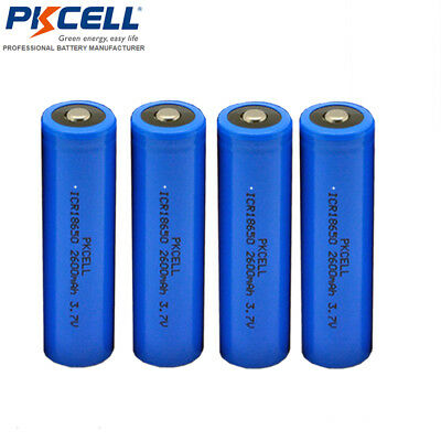 4PCS x ICR18650 2600mAh 3.7V Li-ion Rechargeable Battery Button Top CA Seller
