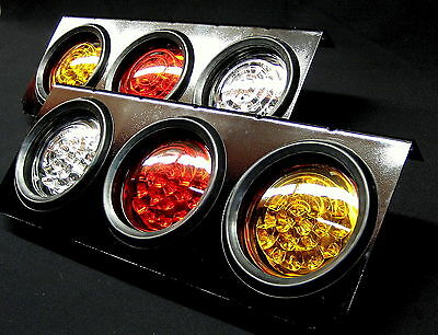 2PEICES 12V Round 63 LED Tail Lights Stop Tail Reserve Ute Trailer Truck AU CE