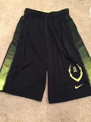 Nike Youth Athletic Dri-Fit Running Workout Shorts Black Yellow Size L Large