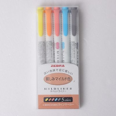 Zebra Mildliner Soft Color Double-Sided Highlighter Marker Pen 5-Color Sets
