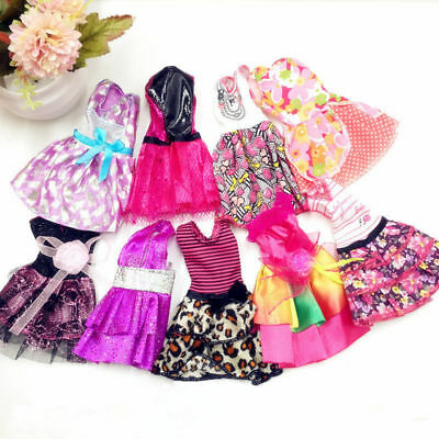 10 Barbie Dolls Handmade Dresses Clothes Bundle Style Randomly Xmas Gift