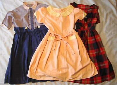 Vintage Children's Clothes 3 Girls Dresses Early 1950's and Early 1960's