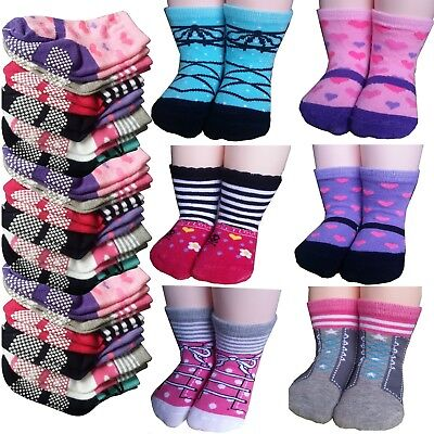 Non-Skid Gripper Assorted 6 Pairs 12-24 Months Baby Girl Toddler Socks Anti S...