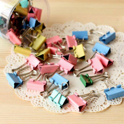 10Pcs Colored Metal Binder Clip Paper Clips Office Supplies Stationary Organizer