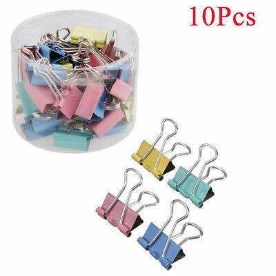 New 10Pcs Binder Clip 19mm Metal Classic Office Stationery Paper Documents Clip