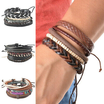 Fashion Braided Adjustable Leather Bracelet Punk Jewelry Cuff Women Men Gift