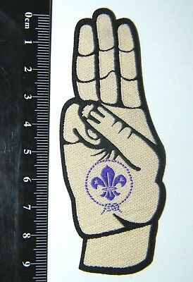 Scout Salute Badge, Scout Sign, UK Scouts woven iron-on badge