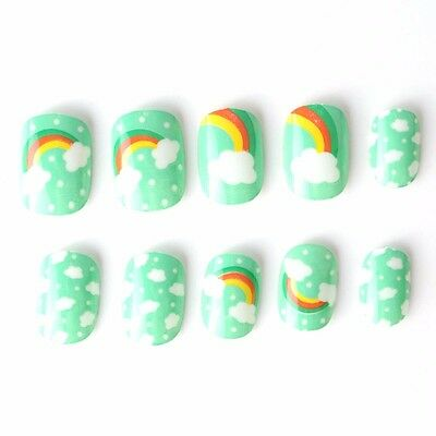 20 Pcs Rainbow Children False Nails Green Blue Pre-glue Press on Fake Nails Tips