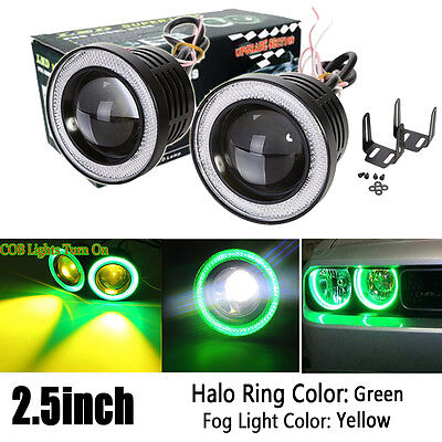 Pair 2.5inch Yellow COB Projector Fog Light w// Green Halo Angel Eye Ring DRL 12V