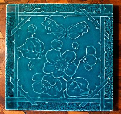 Antique Victorian Butterfly Tile Arts Crafts Aesthetic Nouveau Majolica Marsden