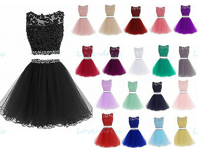 Short Two Pieces Homecoming Prom Dress Evening Party Ball Gowns Stock Size 6-22