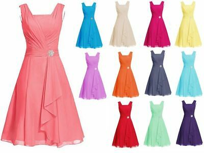 Short Chiffon Wedding Formal Evening Party Bridesmaid Ball Gown Prom Dress 6-22