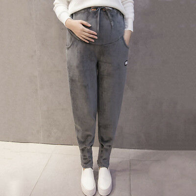 Newly Maternity Pants Winter Pregnant Women Abdominal Support Walking Trousers