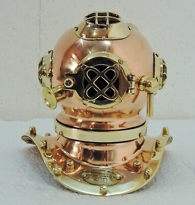 Antique Scuba Copper & Brass Diving Helmet US Navy Mark V Deep Sea Marine 1