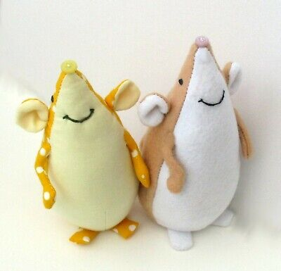 Brie soft toy mouse sewing pattern. Includes alternative mole character.