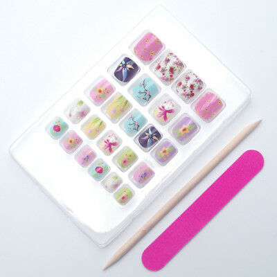 Children Nail Art Tips Colorful Cute Designed False Nails Pre-glue Press on Nail