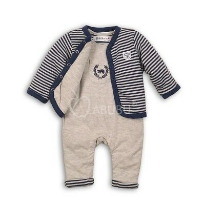 Baby Boys Warm Padded Cardigan & Dungaree Outfit 3-6 Months