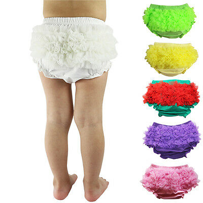 Infant Baby Girls Photography Prop Ruffle Bloomer Chiffon Diaper Cover shorts