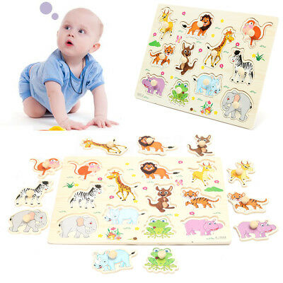 ☆ Zoo Animal Wooden Jigsaw Puzzle Toy Child Kids Baby Learning Educational Gift