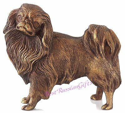 "Japanese Chin Bronze Sculpture Russian Art Dog Figurine Animal Statue 4.1"" Tall"