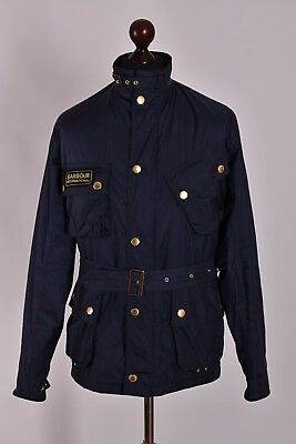Men's Barbour International Lightning Gold Biker Jacket Size M Genuine Mint