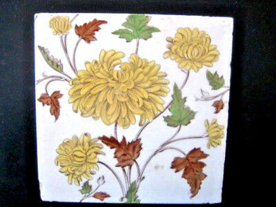 Antique Hand Painted Ceramic Tile 6X6 Inches