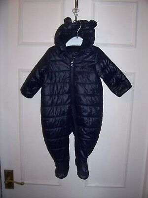 Baby Gap Boys Navy Quilted Hooded Snow Suit Age 3-6 Months