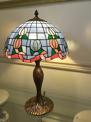 """14.5"""" COLORFUL TIFFANY STYLE STAINED GLASS FLORAL TULIP LAMP Blue Pink Green"""