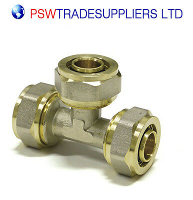 20mm x 20mm x 20mm Equal Tee  PEX-AL-PEX BRASS COMPRESSION FITTINGS