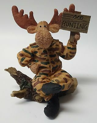 NO HUNTING Moose in Hunter's Camouflage Figurine Humorous CABIN DECOR Hunting