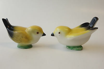 Vintage Pair of YELLOW FINCH BIRD Ceramic Pottery Figurines SET OF 2