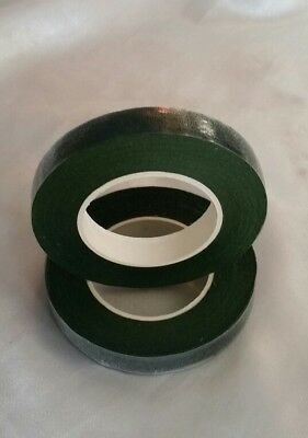 2 Reels Of Dark Green Floral Florist Tape Waterproof Buttonholes Stemwrap