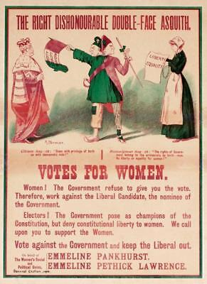 Print. 1916. Women's Suffrage. Vote against the Government