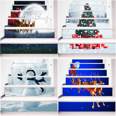 6pcs 3D PVC Snow Christmas Tree Self-adhesive Stair Stickers Xmas Home Decor