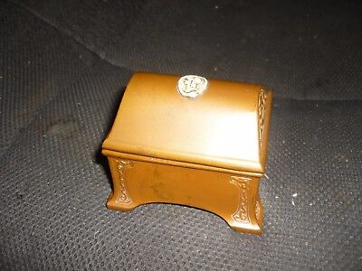 antique bronze jewery box  marked ivory bronze  dragons  ivory head on lid