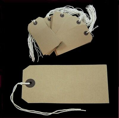 Brown Buff Strung Tags 70 x 35mm String Tie On Reinforced Labels Craft / Gift