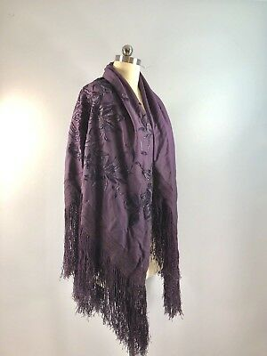 Vintage Piano Shawl Embroidery Aubergine Purple Fringe 52 Inch Square Wrap Scarf