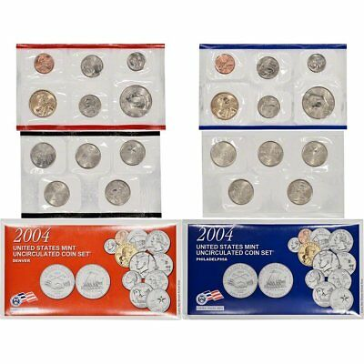 2004 P & D US Mint Uncirculated State Quarter Coin Set w/COA