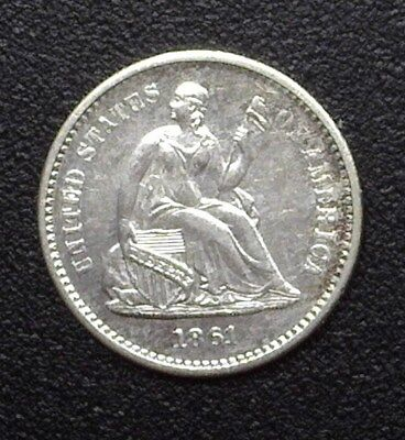 1861 Seated Liberty Silver 1/2 Dime  Near Choice Uncirculated