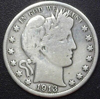 1913 Barber Silver 50 Cents  Vg/f  Key Date!