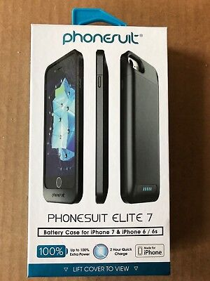 size 40 f503b bdb29 BRAND NEW SEALED Phonesuit Elite 7 100% Battery Case for iPhone 7 6 6s Black